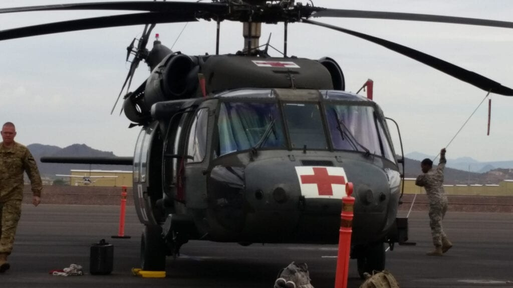 A military helicopter.