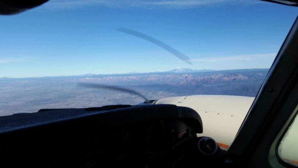 Aerial view from the cockpit.
