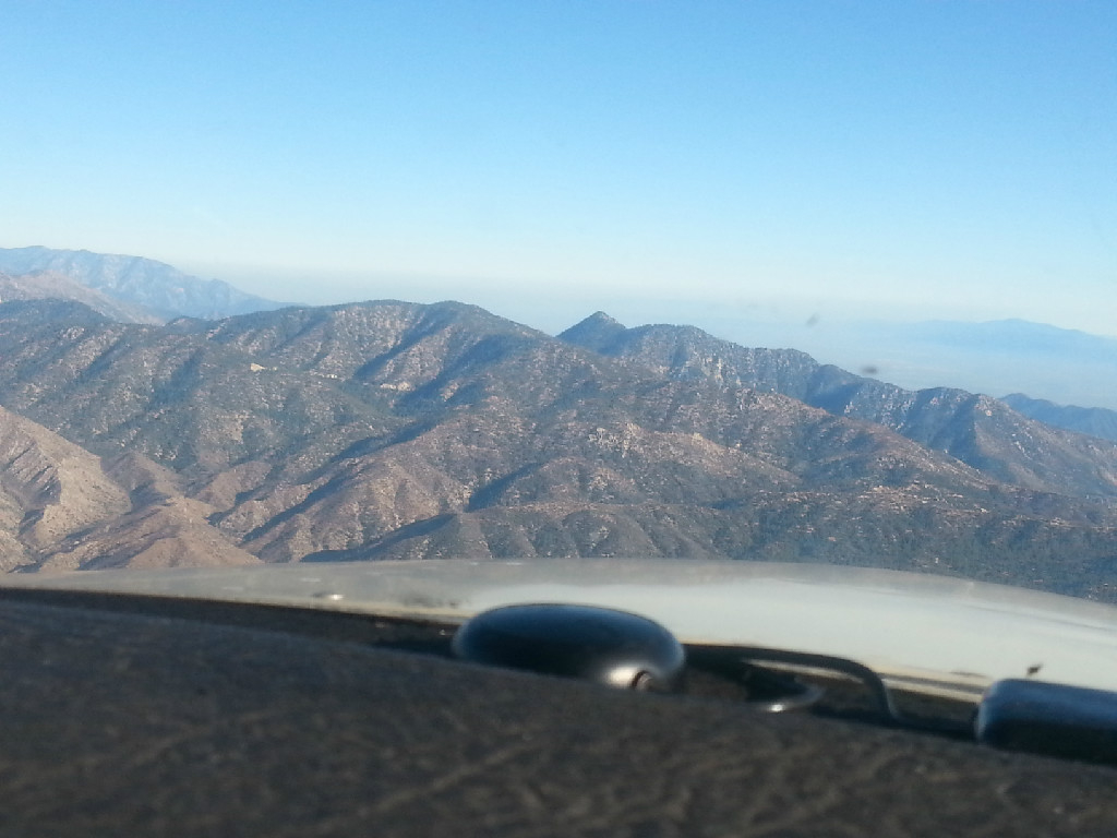 View of the mountains from the cockpit.
