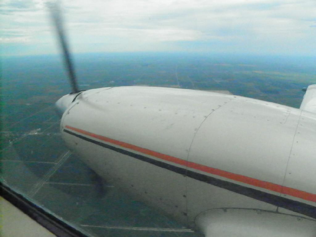 Airplane propeller spinning.