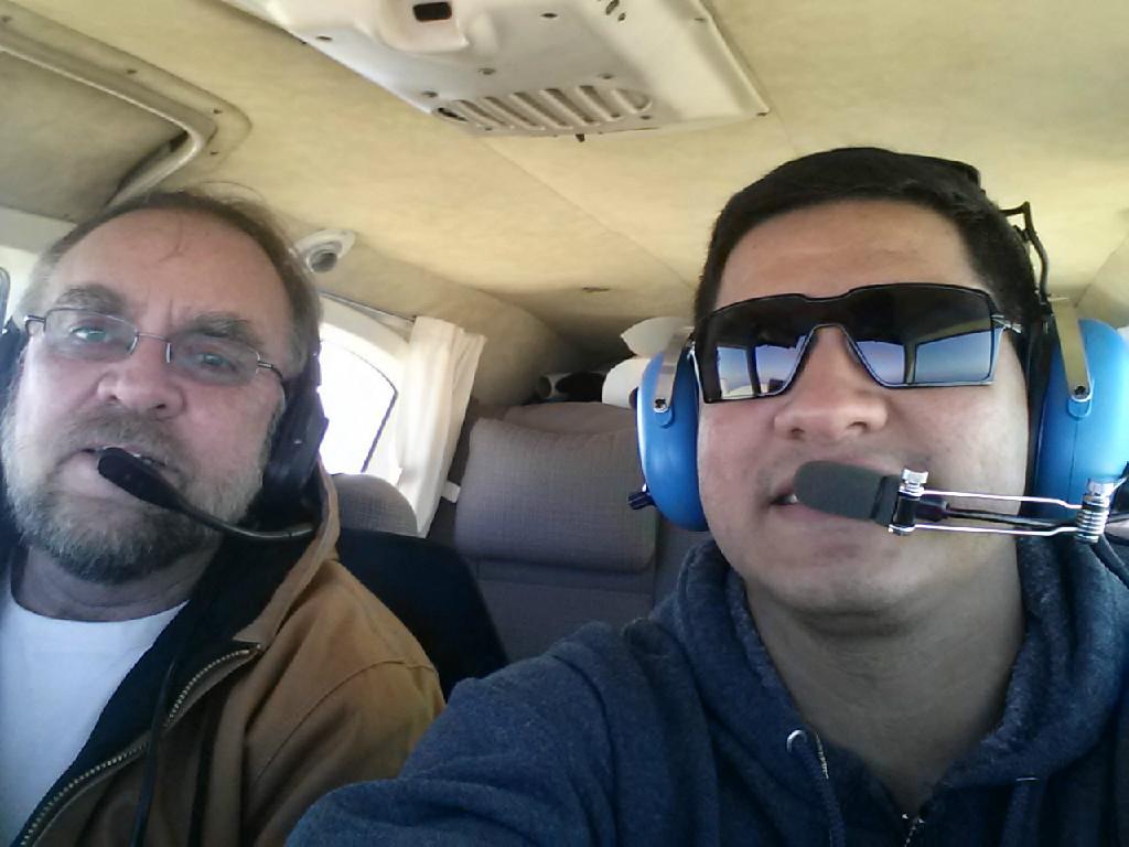 Two pilots taking a selfie.