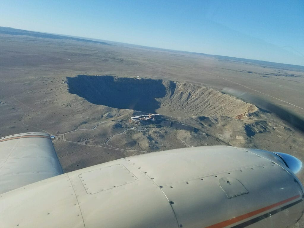 View of a crater from above.