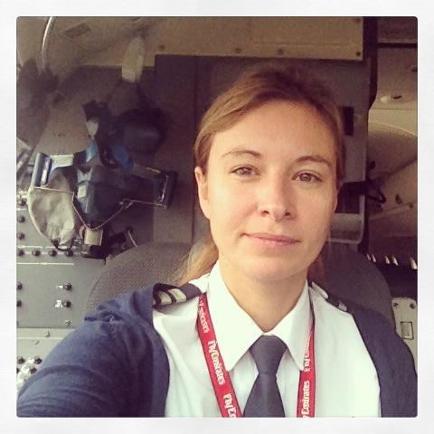 A selfie of a female pilot.