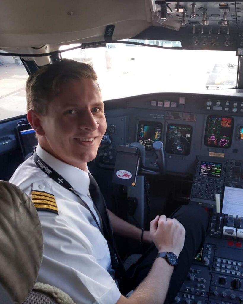 Pilot inside a cockpit.