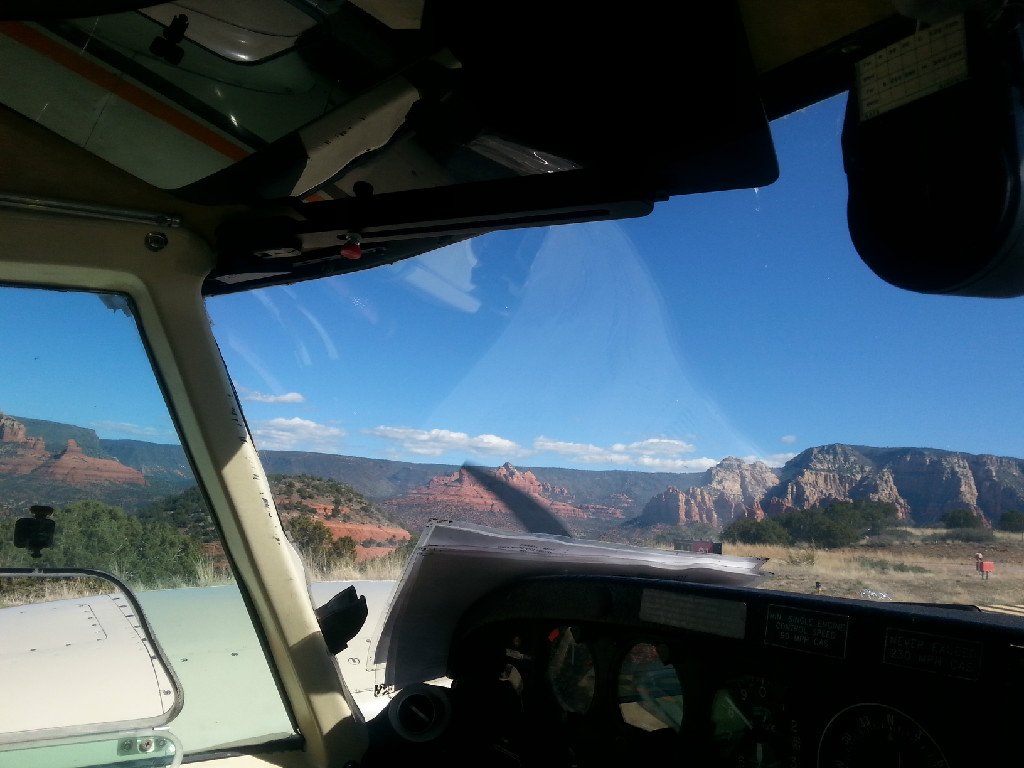 A view of the outside from the cockpit.