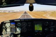 View of the runway inside the airplane.