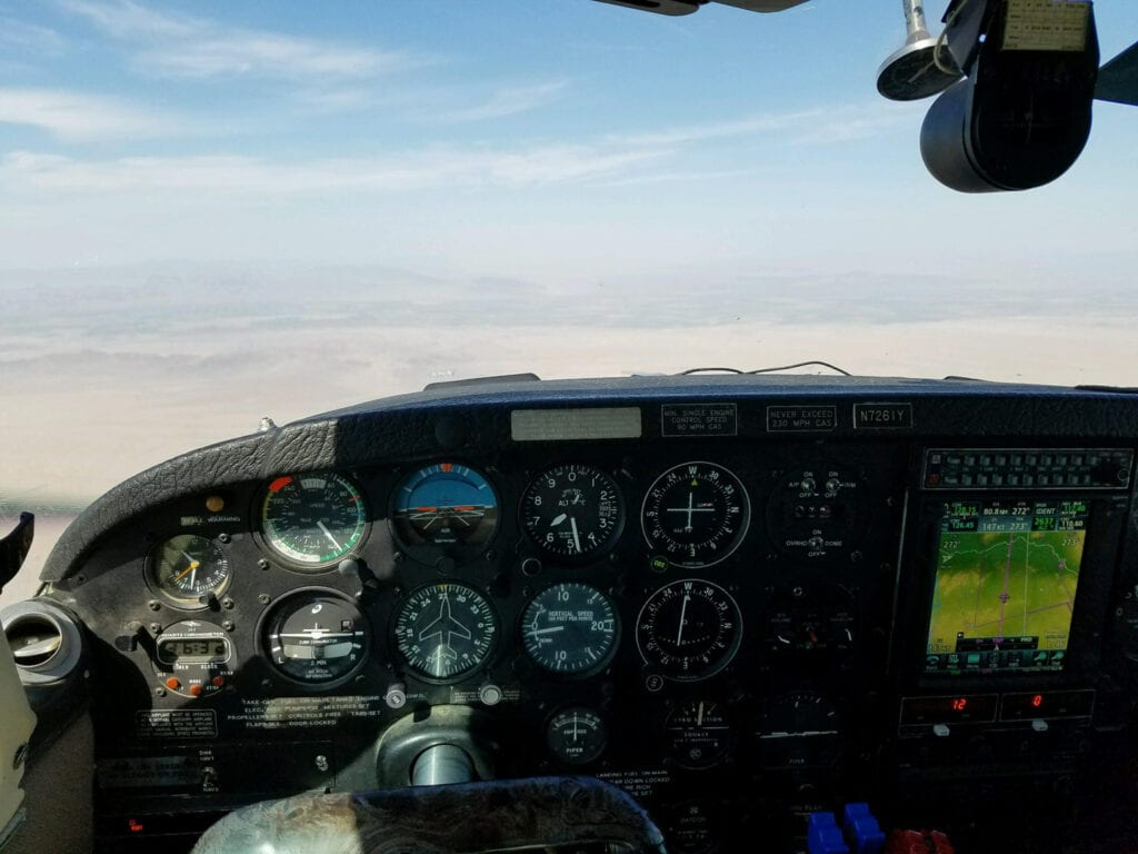 View of cockpit console.