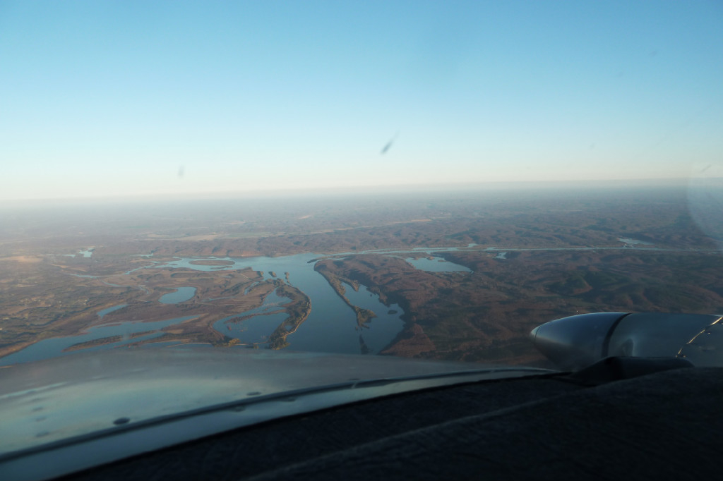 An aerial view of the wetlands.