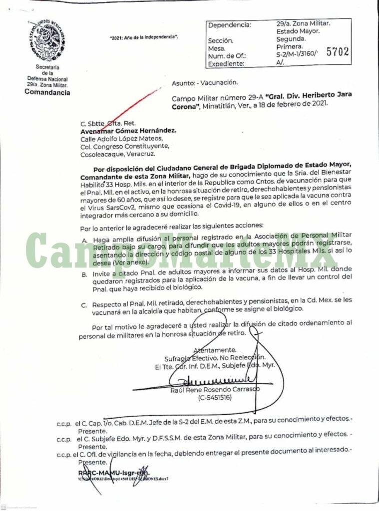SEDENA invita a vacunarse en 33 hospitales COVID