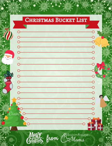 Baton Rouge Christmas events bucket list printable
