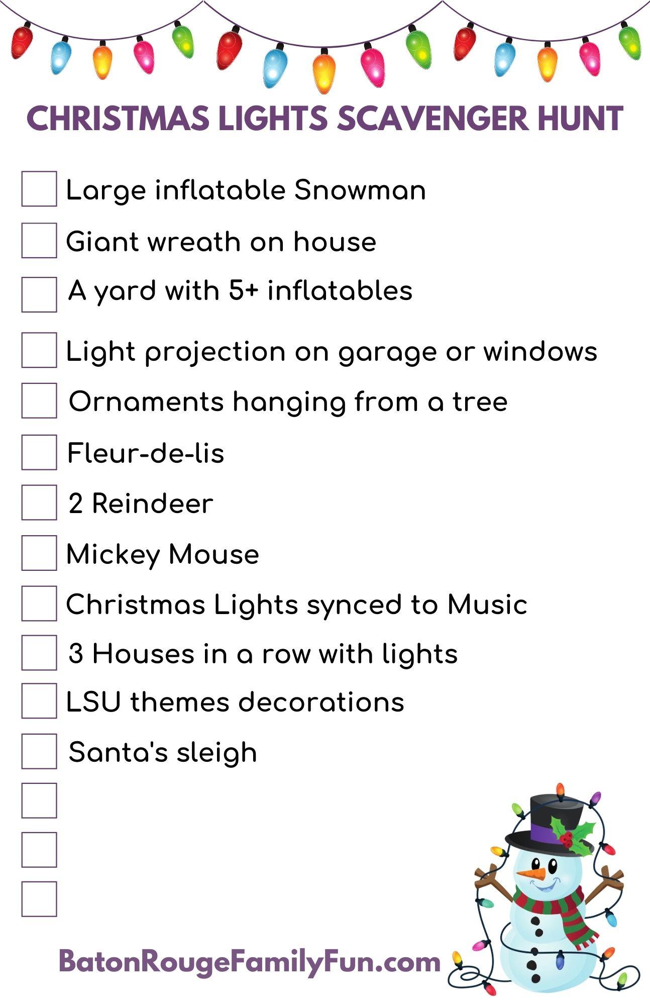 Christmas Lights Scavenger Hunt – Baton Rouge Family Fun