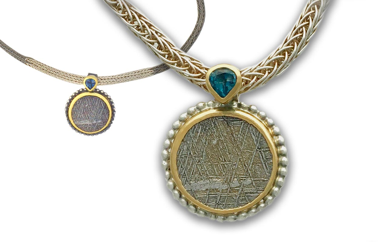 Meteor set in 22kt Gold and Sterling - Hand woven chain in titanium and 0.999 silver. Blue Topaz accent.