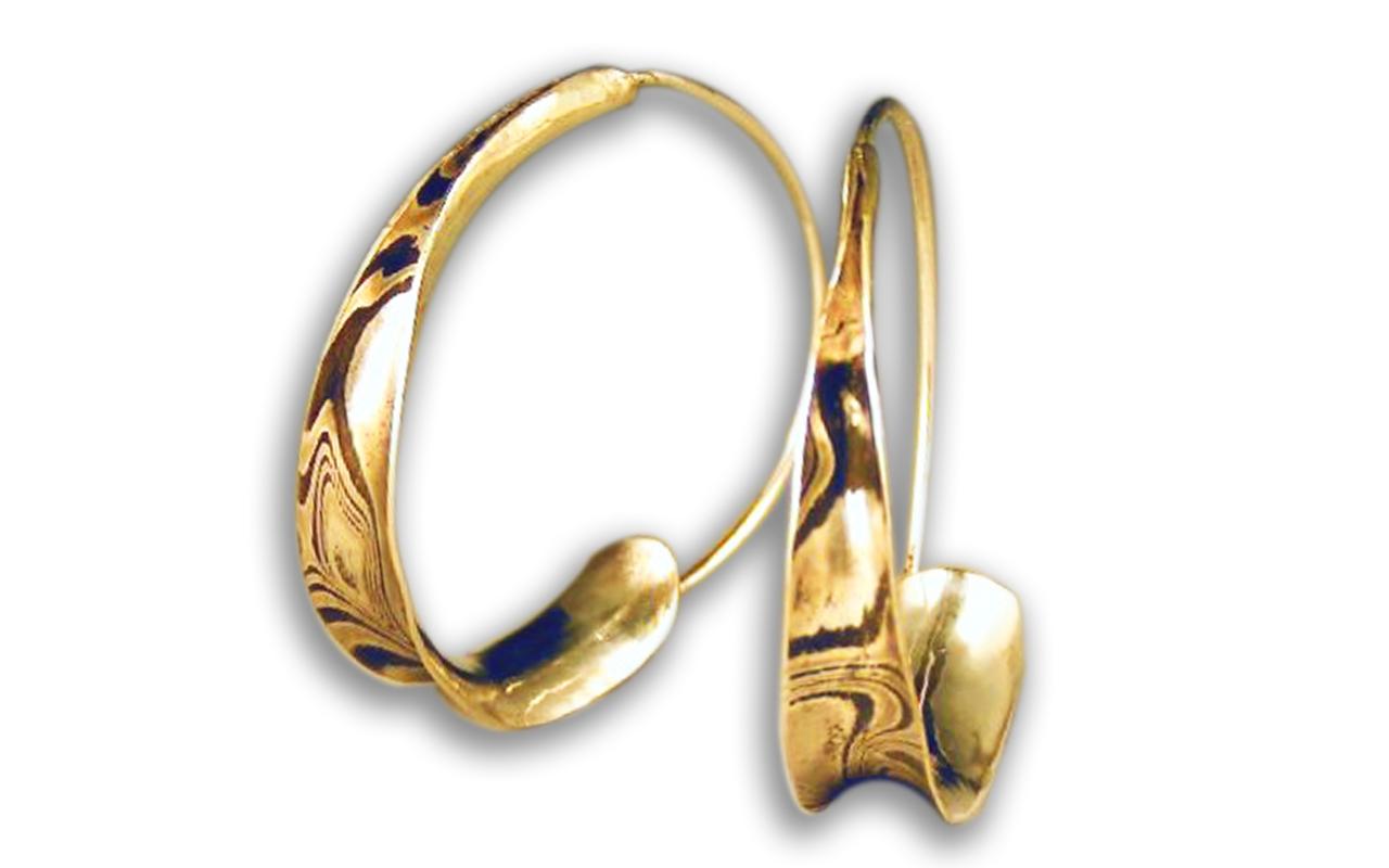 Anticlastic Earrings in Mokume-gane ( 木目金