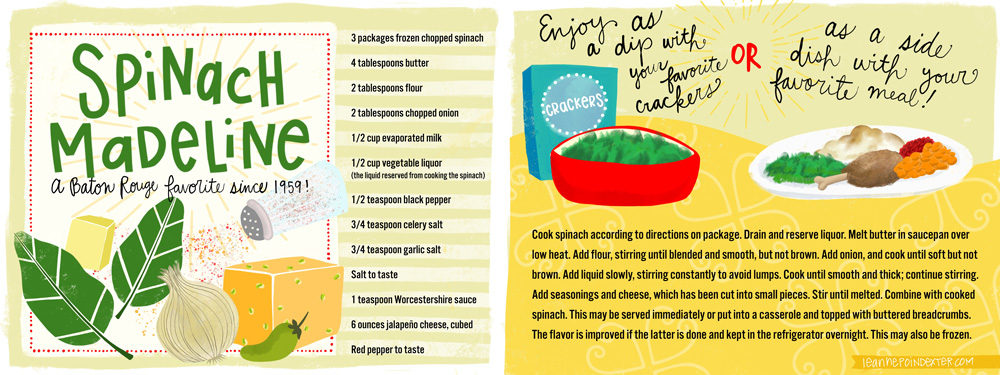 Spinach Madeline Recipe Illustrated by LeAnne Poindexter