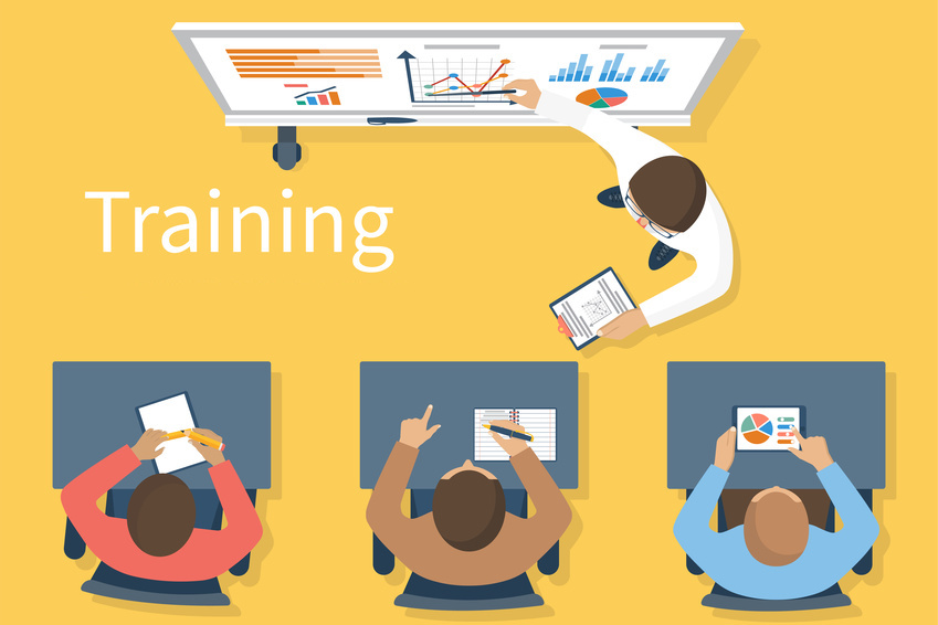 Business training. Training staff. Briefing meeting. Corporate training. Business seminar. Training concept.  Flat style vector. Conference employee. Training conference planning business decisions.