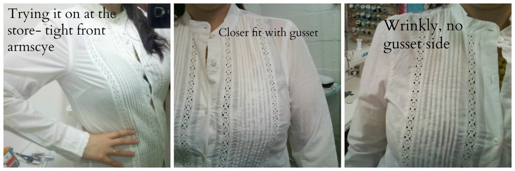 white buttondown progress with gussets