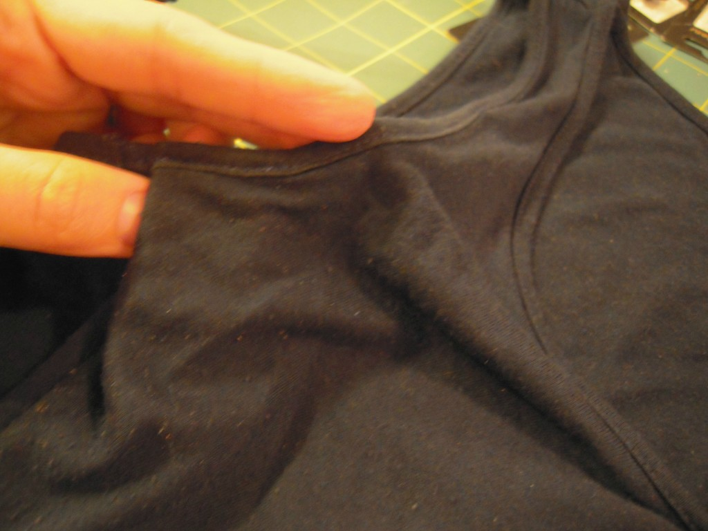 large underarm fold down and stitch