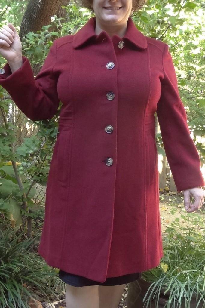 anne klein red coat 1