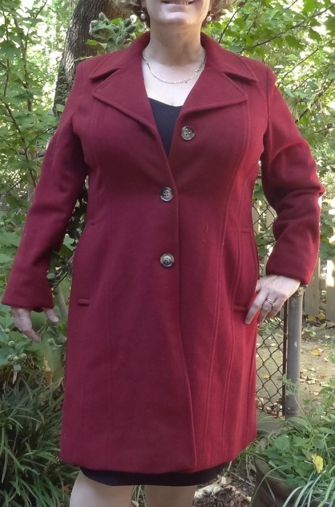 anne klein red coat neckline experiment