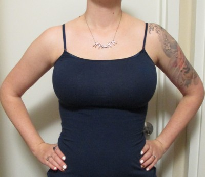 Finally, we have the bustier underneath a thin camisole. As you can see, the shape is quite uplifted and very round. You can't even tell I'm wearing anything other than a normal bra!