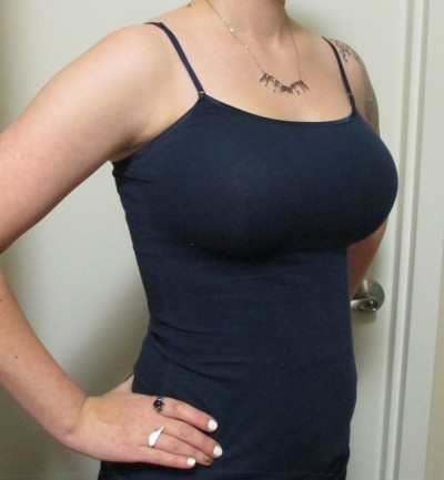 """Here's a shot from a three-quarter angle so you can see the profile a little better. My fiancé said this bra produces a """"good shadow,"""" and I have to agree."""