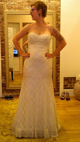 """This was the shape I initially thought I wanted. This particular dress was very pretty and immediately shot to the top of the list of """"maybes."""" It has subtle sparkly beading on all those lines. It's maybe not doing my body any favors, though."""