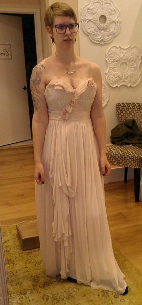 This was the exact color I actually wanted: Blush pink that didn't blend in with my skin too much. And I liked this dress a lot. But it had teeny tiny, training bra-sized boob cups so I wasn't willing to choose it since, even if the designer could make it with bigger cups, I couldn't get a good idea what the final product would look like since it would be so different.
