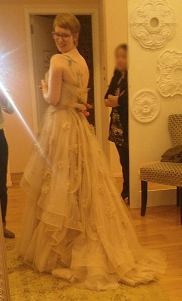 I loved the back, though. It had really nice volume and these long, elegant ribbons cascading down the back. So cool.