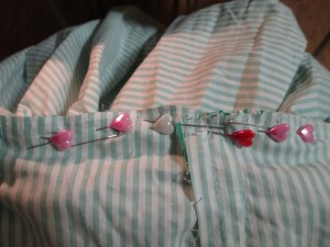 Once I got my gathers evenly spaced, I pinned it to the bodice using a lot of pins. I wanted to be sure the gathers would stay in place and not un-even themselves while being sewn to the bodice.