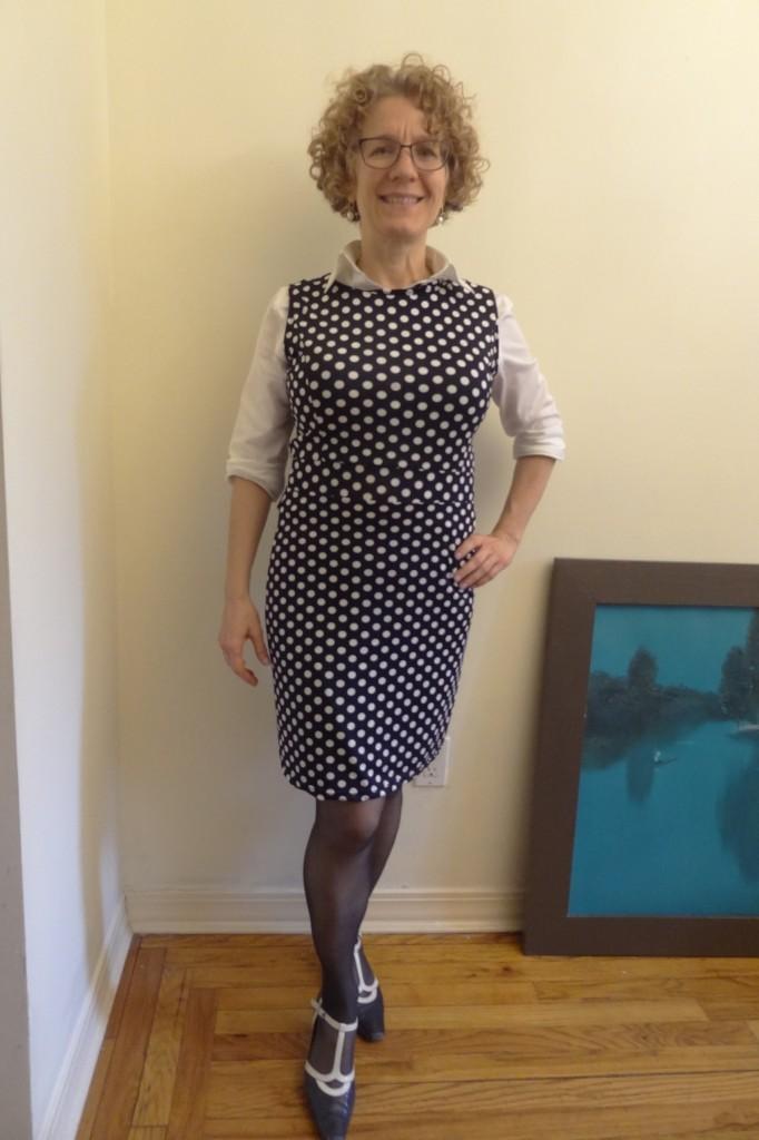 big bust neckline polka dot rolled sleeves front