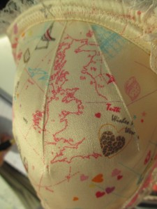 """I also must point out the map of the UK on the Betty """"Brighton Rocks"""" print. The little pink heart in the middle of the country is where Tutti Rouge headquarters are located!"""