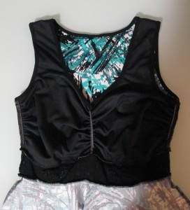 The bodice is fully lined in front and back.