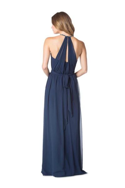 """Plus look how gorgeous the back was! Note that it's got """"back interest,"""" but was still high enough to cover a strapless bra. The drapey fabric also meant plenty of room for boobs. One of the heavier bridesmaids said it was the first dress she'd put on all day that she felt good in."""