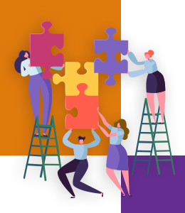 An illustration showing a group of people assembling a puzzle with large pieces. There is a large orange square and another smaller purple one in the background of the image.