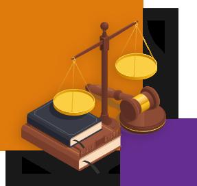 Ilustração mostra uma balança, dois livros e um martelo de madeira sobre uma base redonda também de madeira. Ao fundo da imagem há um quadrado laranja maior e outro roxo menor.