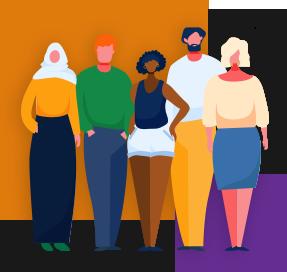Ilustração mostra um grupo de pessoas de diferentes gêneros, raças e crenças religiosas. Ao fundo da imagem há um quadrado laranja maior e outro roxo menor.