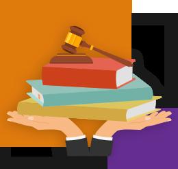 Ilustração mostra duas mãos segurando uma pilha de três livros e, em cima deles, um martelo de madeira apoiado em uma base também de madeira. Ao fundo da imagem há um quadrado laranja maior e outro roxo menor.