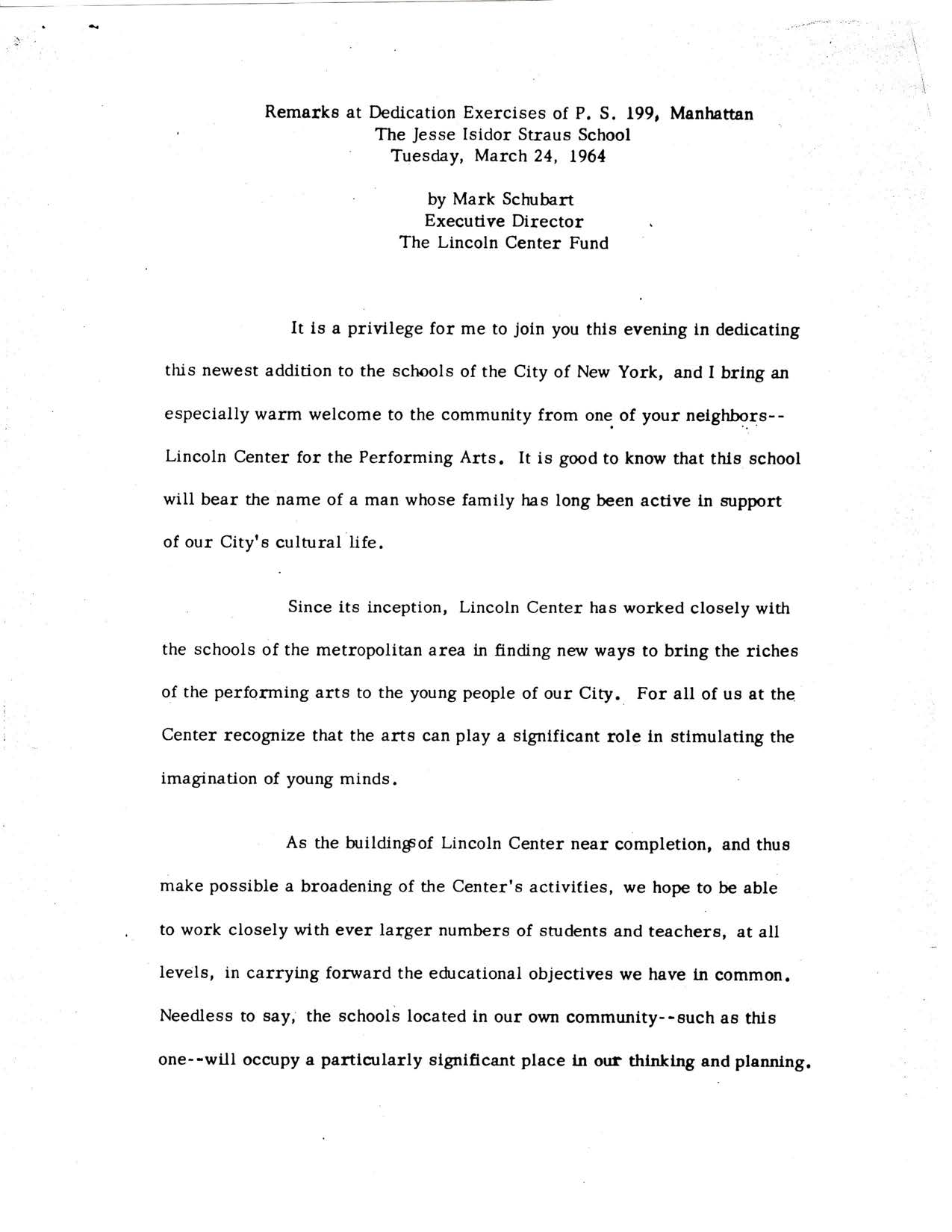 Remarks by Mark Schubart - Lincoln Center Fund - 24 March 1964