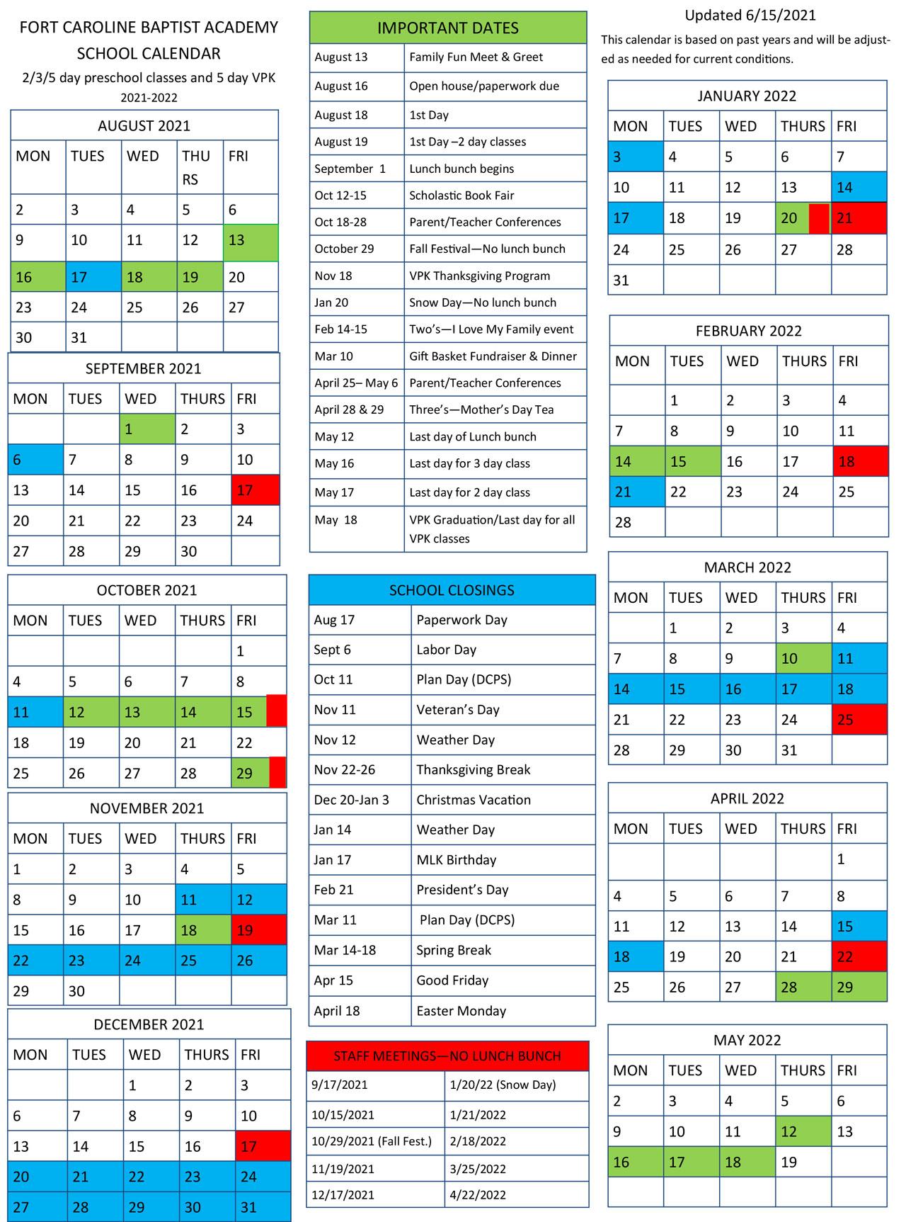 FCBA 2021-22 Calendar