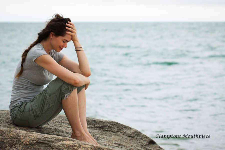 Upset Crying Woman By The Ocean