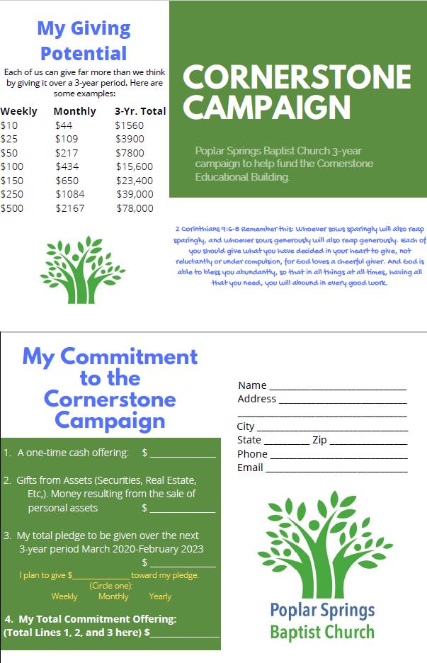 Cornerstone Building Pledge Card