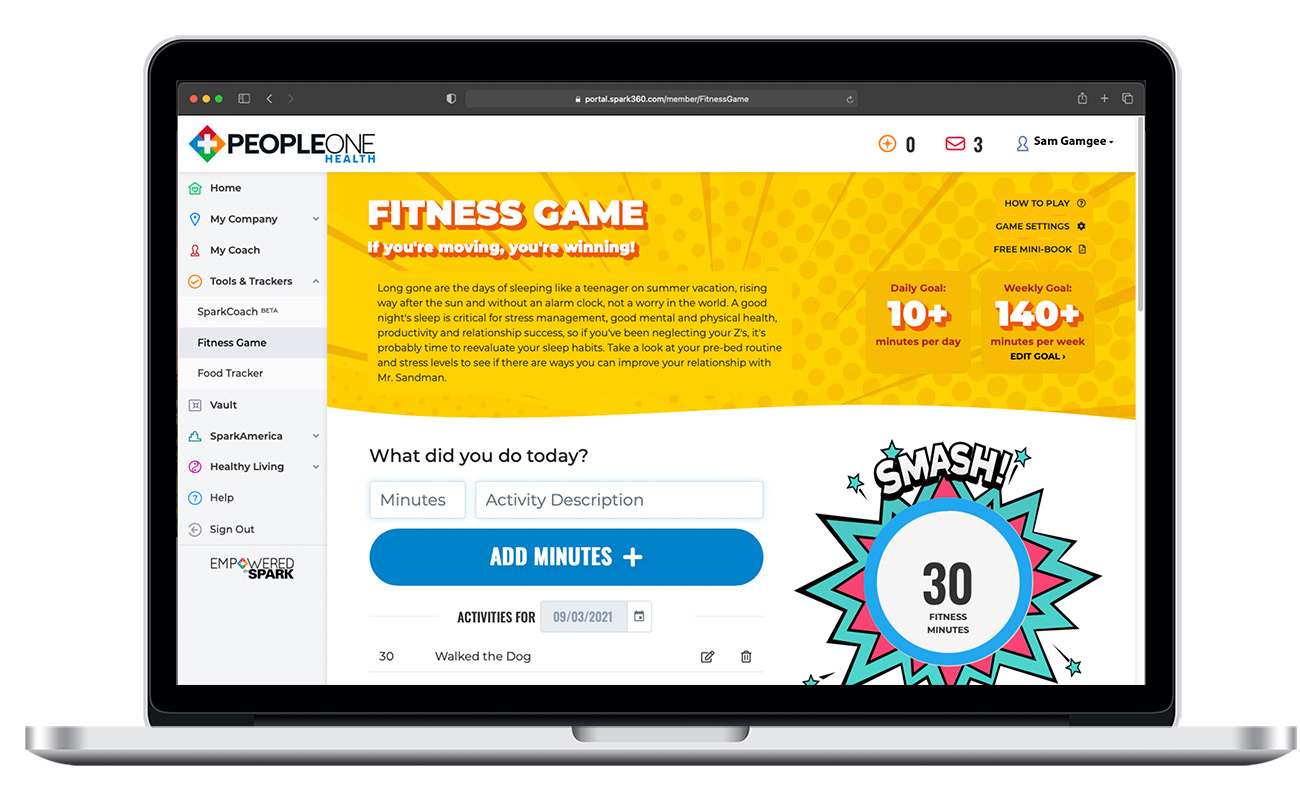 PeopleOne Health Fitness Game Screen
