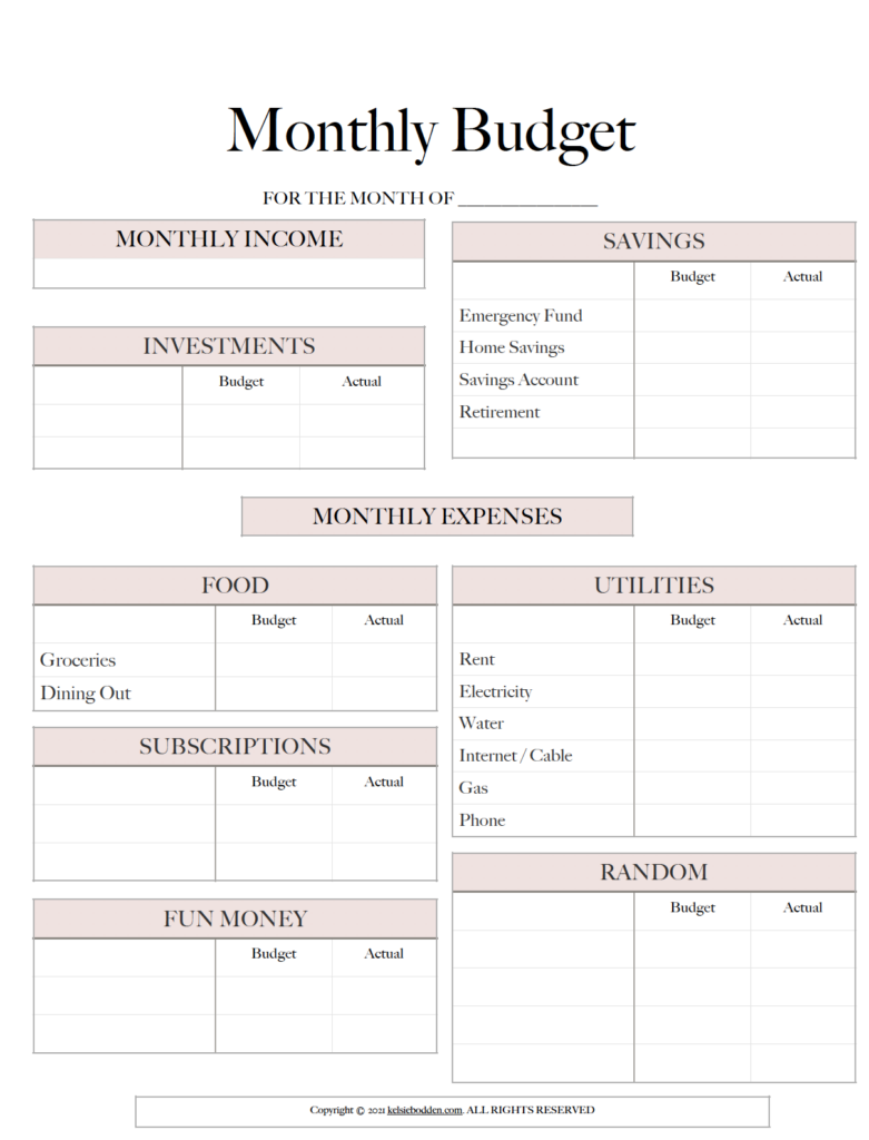 Monthly template
