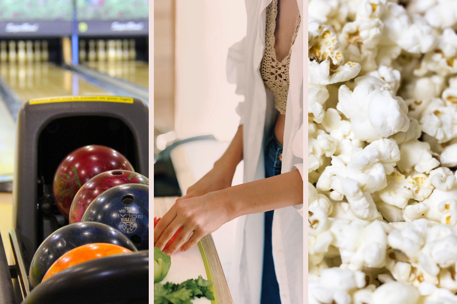 bowling, cooking, popcorn date night ideas