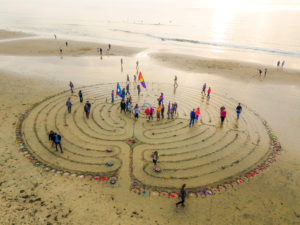 new year's day labyrinth on beach
