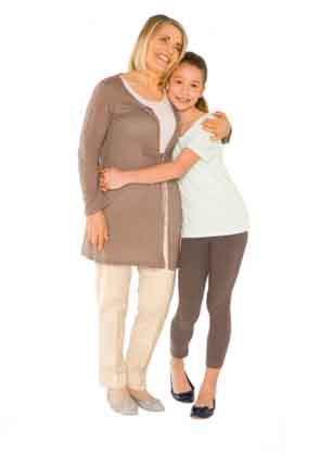 daughter and elderly mother hugging