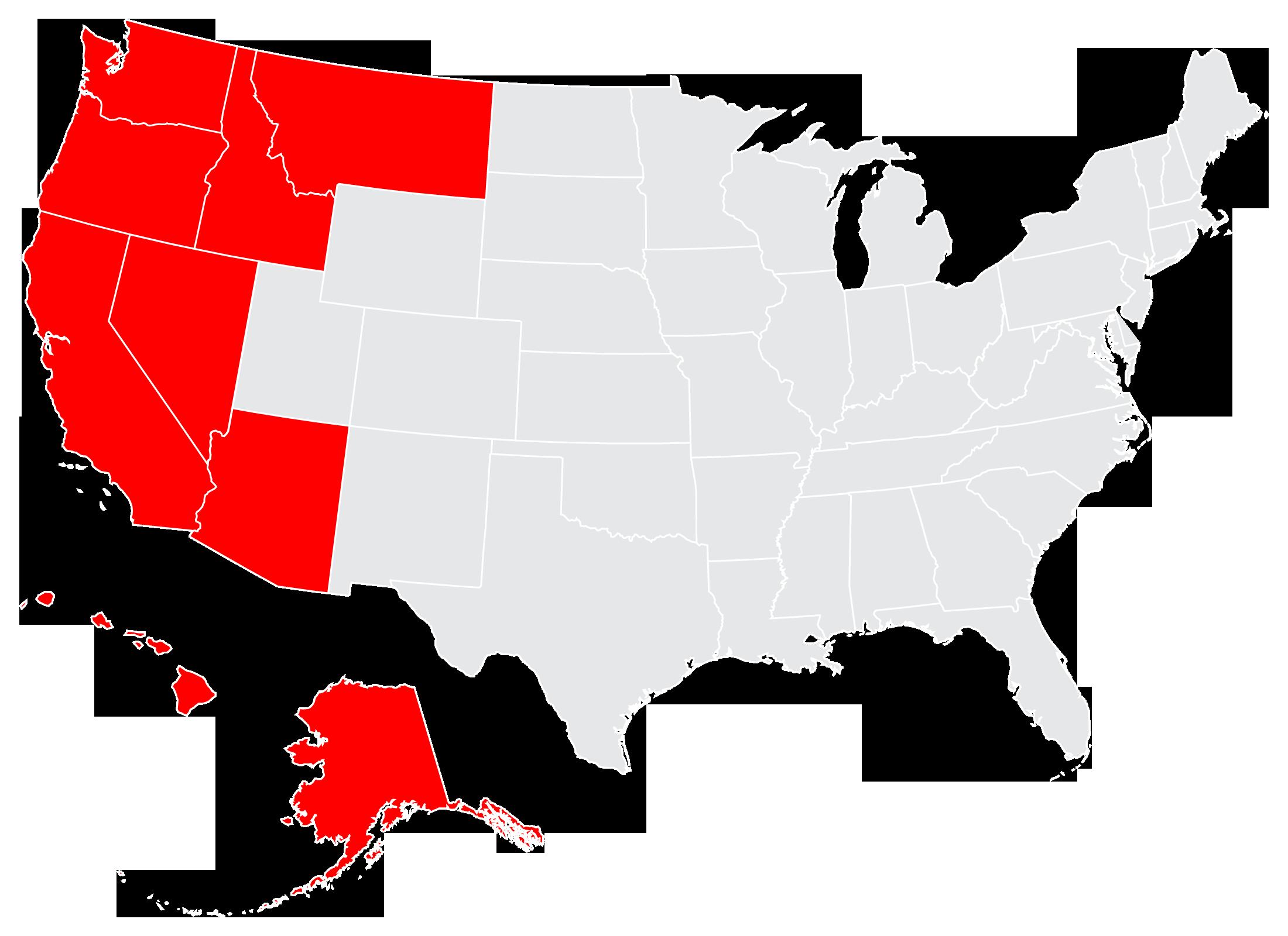 Thundercat Marketing Currently Serves Washington, Oregon, Montana, Idaho, Nevada, Arizona, California, Hawaii and Alaska