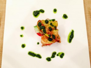 French Fried chicken with basil sauce