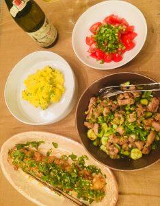 Shrimp Tempra with mustard mayonnaise sauce & Sautéed Chicken with cucumber