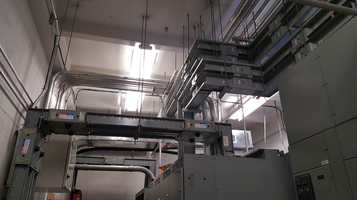 Duct work and conduits in electric room